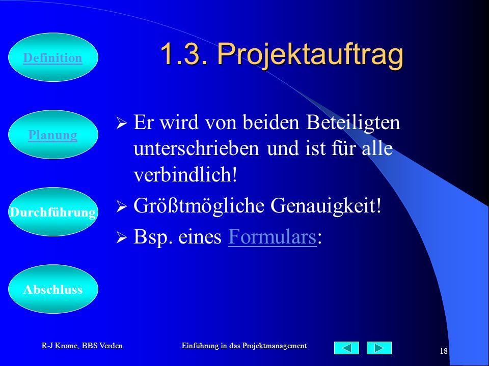 Abschluss Definition Durchführung Planung R-J Krome, BBS VerdenEinführung in das Projektmanagement 18 1.3. Projektauftrag Er wird von beiden Beteiligt