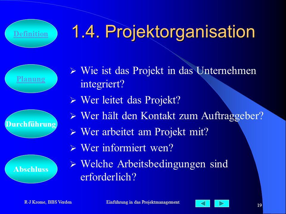 Abschluss Definition Durchführung Planung R-J Krome, BBS VerdenEinführung in das Projektmanagement 19 1.4. Projektorganisation Wie ist das Projekt in