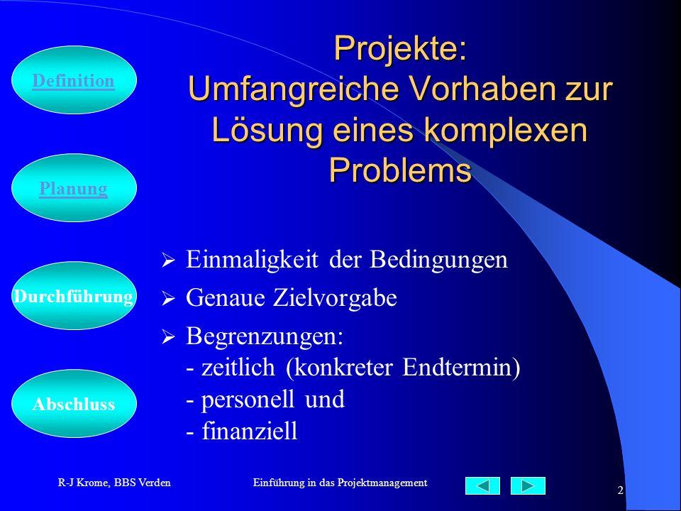 Abschluss Definition Durchführung Planung R-J Krome, BBS VerdenEinführung in das Projektmanagement 2 Projekte: Umfangreiche Vorhaben zur Lösung eines