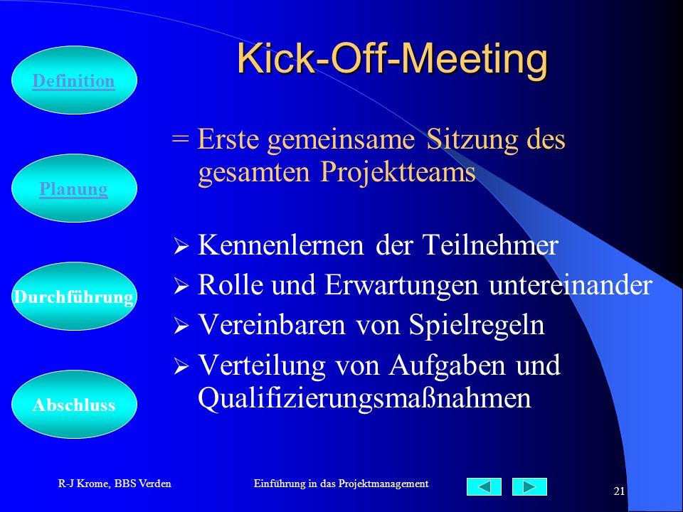 Abschluss Definition Durchführung Planung R-J Krome, BBS VerdenEinführung in das Projektmanagement 21 Kick-Off-Meeting = Erste gemeinsame Sitzung des