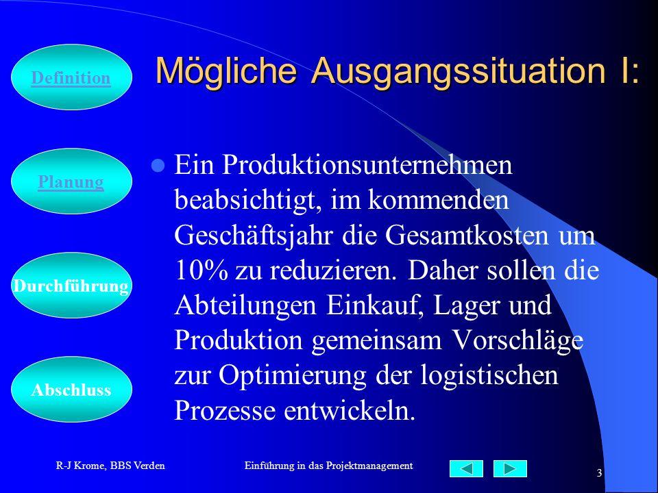 Abschluss Definition Durchführung Planung R-J Krome, BBS VerdenEinführung in das Projektmanagement 3 Mögliche Ausgangssituation I: Ein Produktionsunte