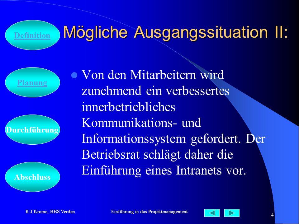 Abschluss Definition Durchführung Planung R-J Krome, BBS VerdenEinführung in das Projektmanagement 4 Mögliche Ausgangssituation II: Von den Mitarbeite