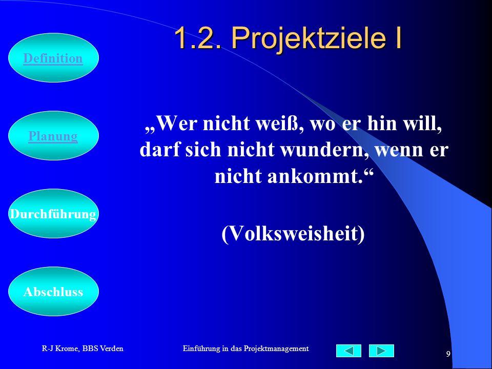 Abschluss Definition Durchführung Planung R-J Krome, BBS VerdenEinführung in das Projektmanagement 9 1.2. Projektziele I Wer nicht weiß, wo er hin wil