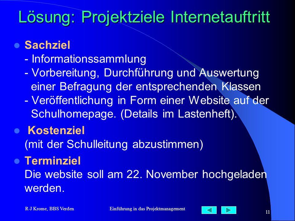 R-J Krome, BBS VerdenEinführung in das Projektmanagement 11 Lösung: Projektziele Internetauftritt Sachziel - Informationssammlung - Vorbereitung, Durc