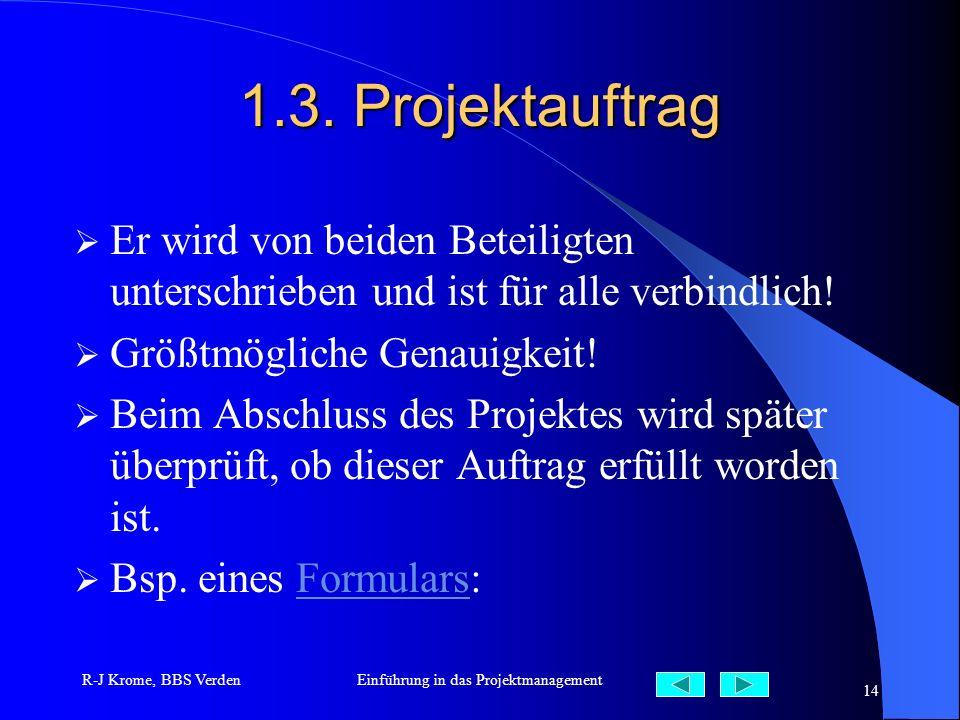 R-J Krome, BBS VerdenEinführung in das Projektmanagement 14 1.3. Projektauftrag Er wird von beiden Beteiligten unterschrieben und ist für alle verbind