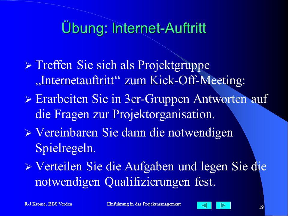 R-J Krome, BBS VerdenEinführung in das Projektmanagement 19 Übung: Internet-Auftritt Treffen Sie sich als Projektgruppe Internetauftritt zum Kick-Off-