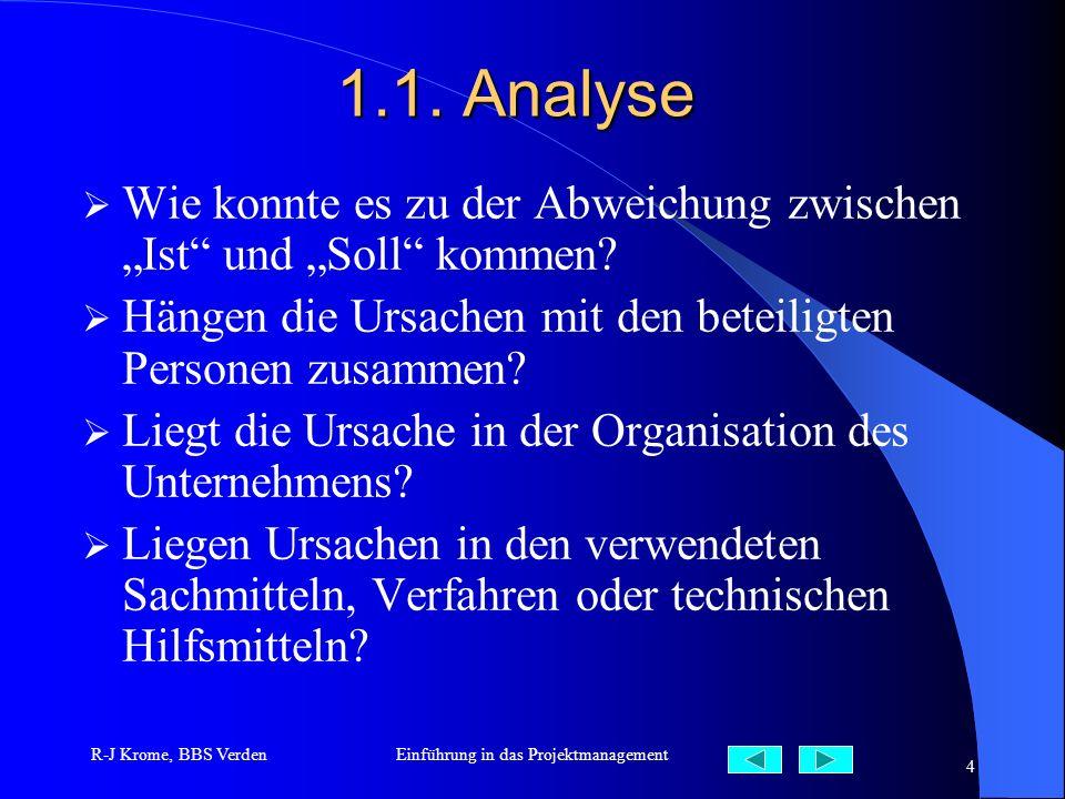 R-J Krome, BBS VerdenEinführung in das Projektmanagement 4 1.1. Analyse Wie konnte es zu der Abweichung zwischen Ist und Soll kommen? Hängen die Ursac