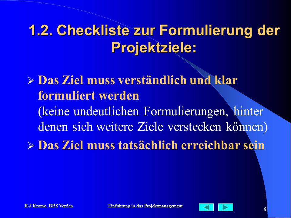 R-J Krome, BBS VerdenEinführung in das Projektmanagement 8 1.2. Checkliste zur Formulierung der Projektziele: Das Ziel muss verständlich und klar form