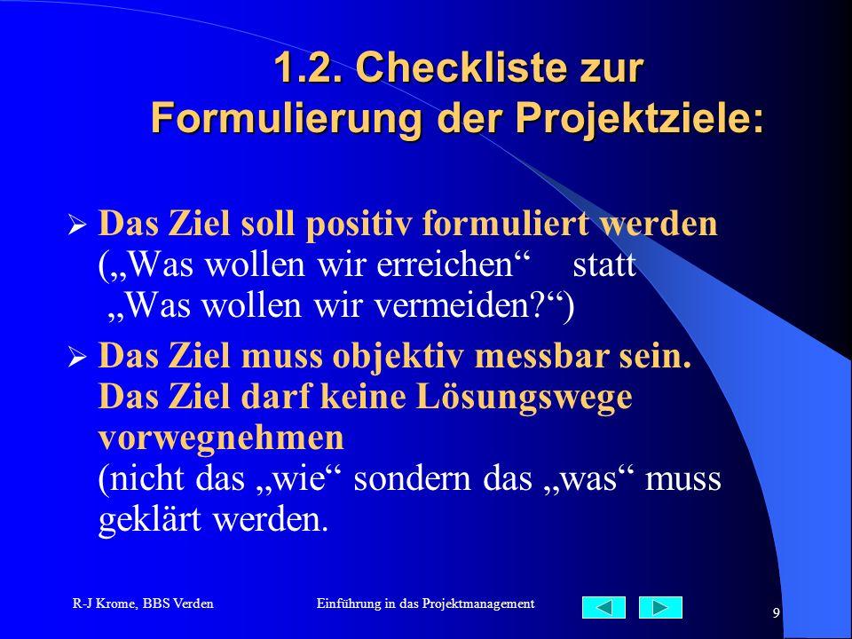 R-J Krome, BBS VerdenEinführung in das Projektmanagement 9 1.2. Checkliste zur Formulierung der Projektziele: Das Ziel soll positiv formuliert werden