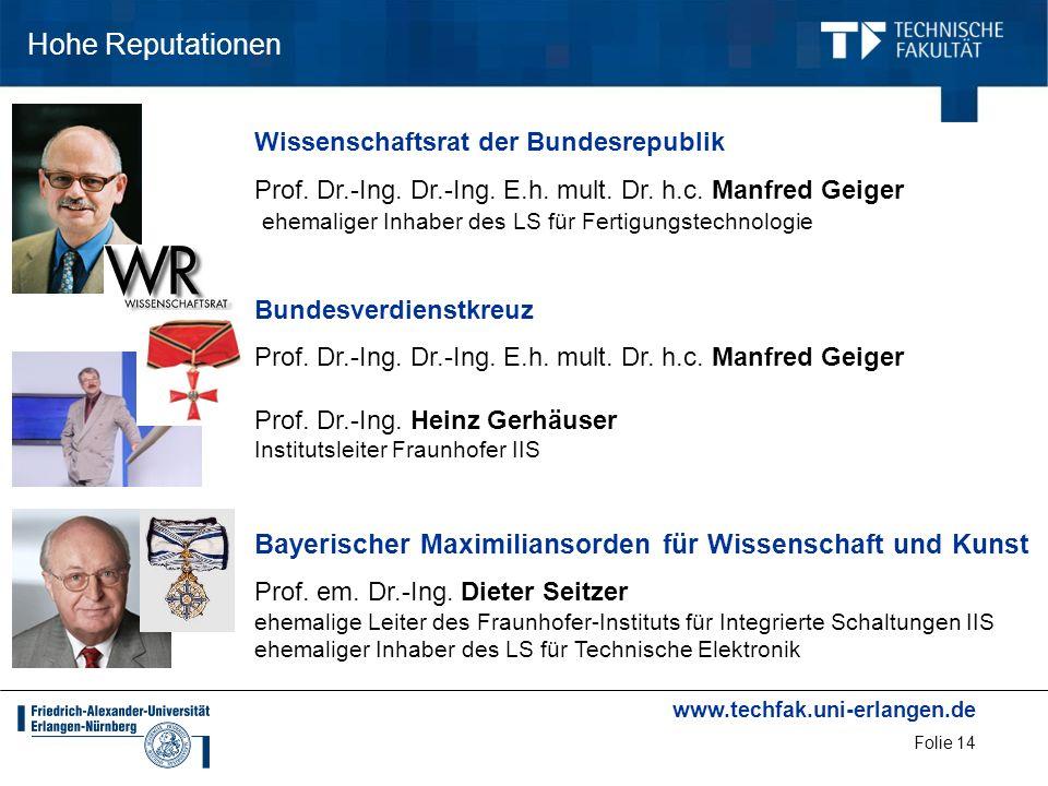 www.techfak.uni-erlangen.de Folie 14 Hohe Reputationen Wissenschaftsrat der Bundesrepublik Prof. Dr.-Ing. Dr.-Ing. E.h. mult. Dr. h.c. Manfred Geiger