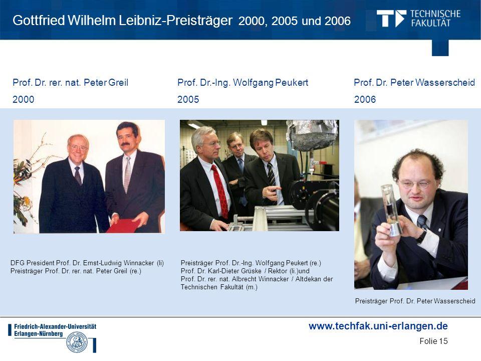 www.techfak.uni-erlangen.de Folie 15 Gottfried Wilhelm Leibniz-Preisträger 2000, 2005 und 2006 Prof. Dr. rer. nat. Peter Greil Prof. Dr.-Ing. Wolfgang