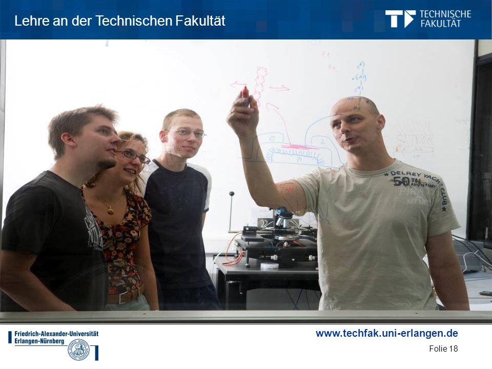www.techfak.uni-erlangen.de Folie 18 Lehre an der Technischen Fakultät