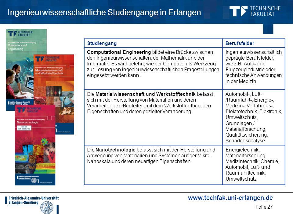 www.techfak.uni-erlangen.de Folie 27 Ingenieurwissenschaftliche Studiengänge in Erlangen StudiengangBerufsfelder Computational Engineering bildet eine