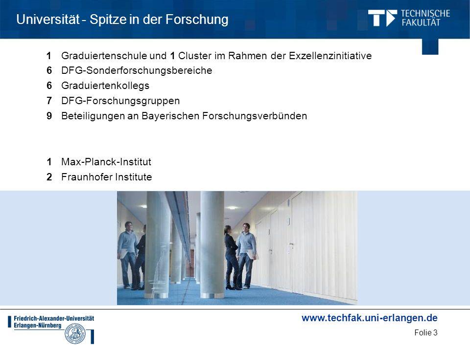www.techfak.uni-erlangen.de Folie 3 Universität - Spitze in der Forschung 1Graduiertenschule und 1 Cluster im Rahmen der Exzellenzinitiative 6DFG-Sond