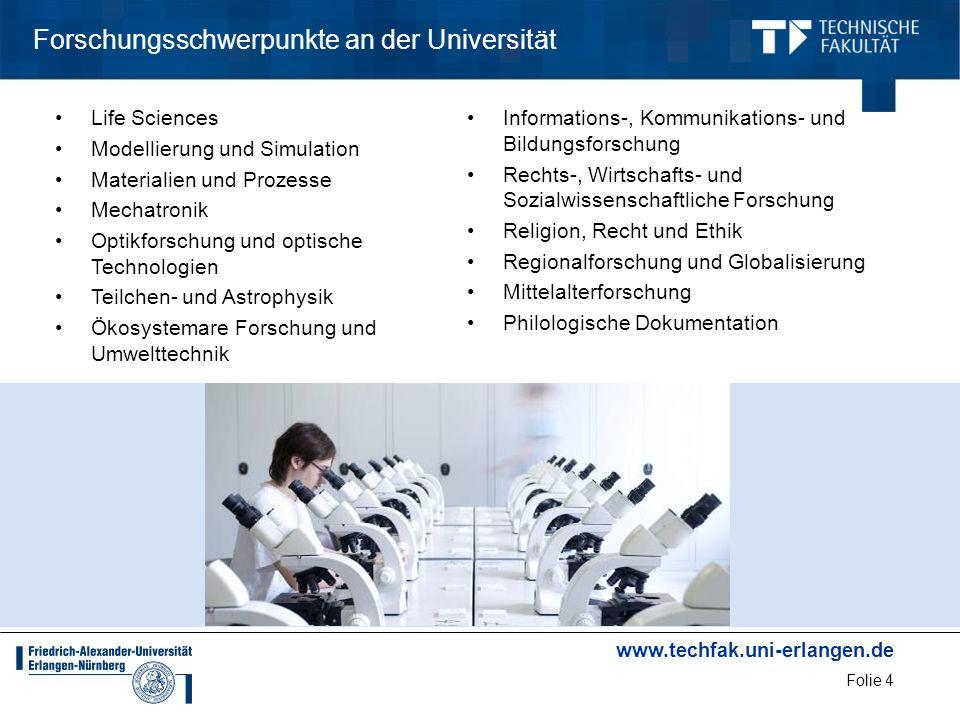 www.techfak.uni-erlangen.de Folie 25 Ingenieurwissenschaftliche Studiengänge in Erlangen StudiengangBerufsfelder Informatik vermittelt die Fähigkeit, in unterschiedlichsten Berufsfeldern und Anwendungsgebieten auftauchende Probleme zu analysieren, mit wissenschaftlichen Methoden zu bearbeiten und rechnerbasierte Lösungen zu entwickeln.