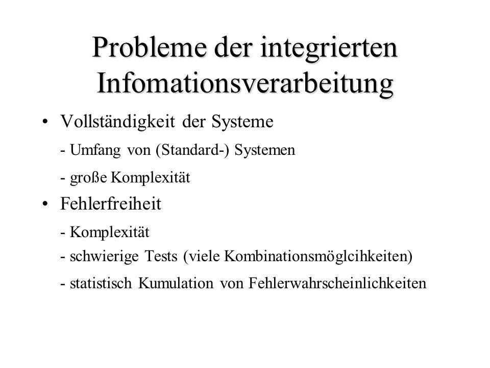 Probleme der integrierten Infomationsverarbeitung Vollständigkeit der Systeme - Umfang von (Standard-) Systemen - große Komplexität Fehlerfreiheit - K