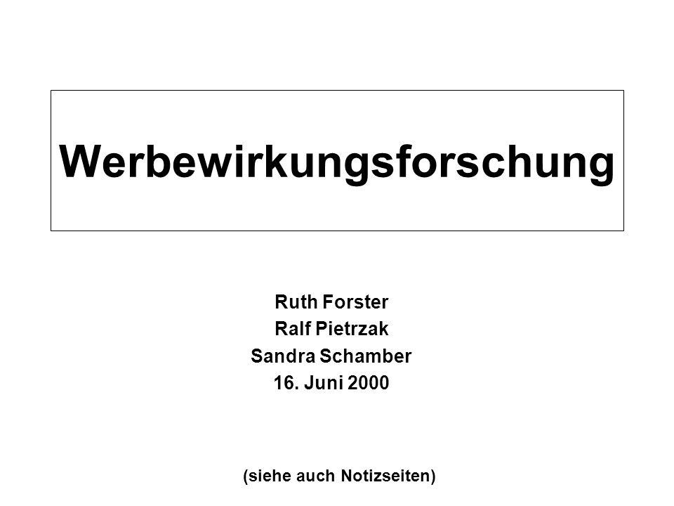 Werbewirkungsforschung Ruth Forster Ralf Pietrzak Sandra Schamber 16. Juni 2000 (siehe auch Notizseiten)