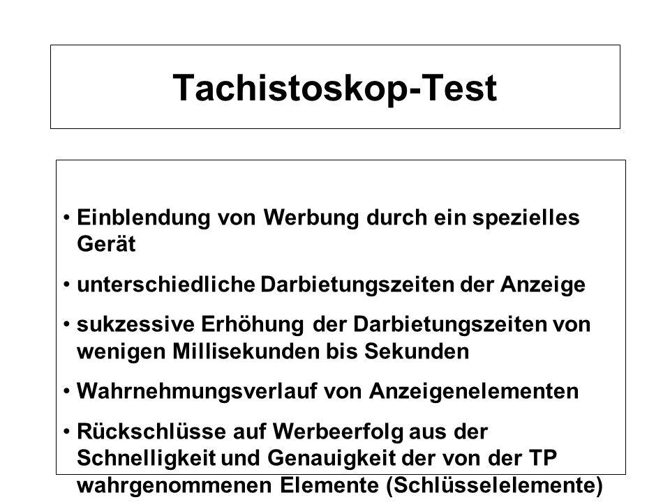 Tachistoskop-Test Einblendung von Werbung durch ein spezielles Gerät unterschiedliche Darbietungszeiten der Anzeige sukzessive Erhöhung der Darbietung