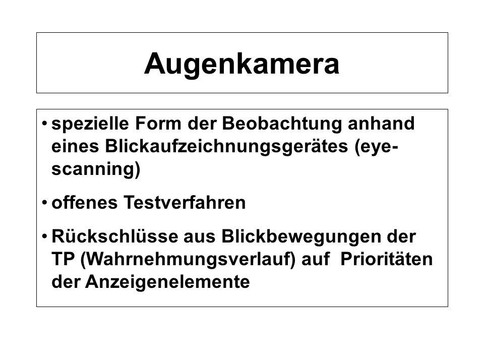 Augenkamera spezielle Form der Beobachtung anhand eines Blickaufzeichnungsgerätes (eye- scanning) offenes Testverfahren Rückschlüsse aus Blickbewegung