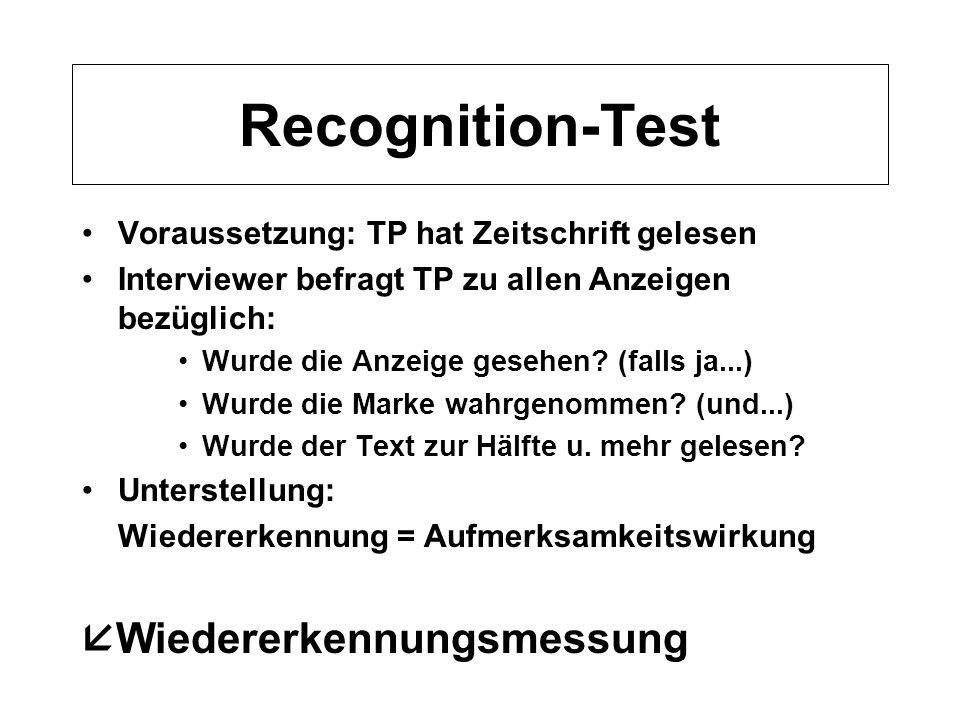 Recognition-Test Voraussetzung: TP hat Zeitschrift gelesen Interviewer befragt TP zu allen Anzeigen bezüglich: Wurde die Anzeige gesehen? (falls ja...