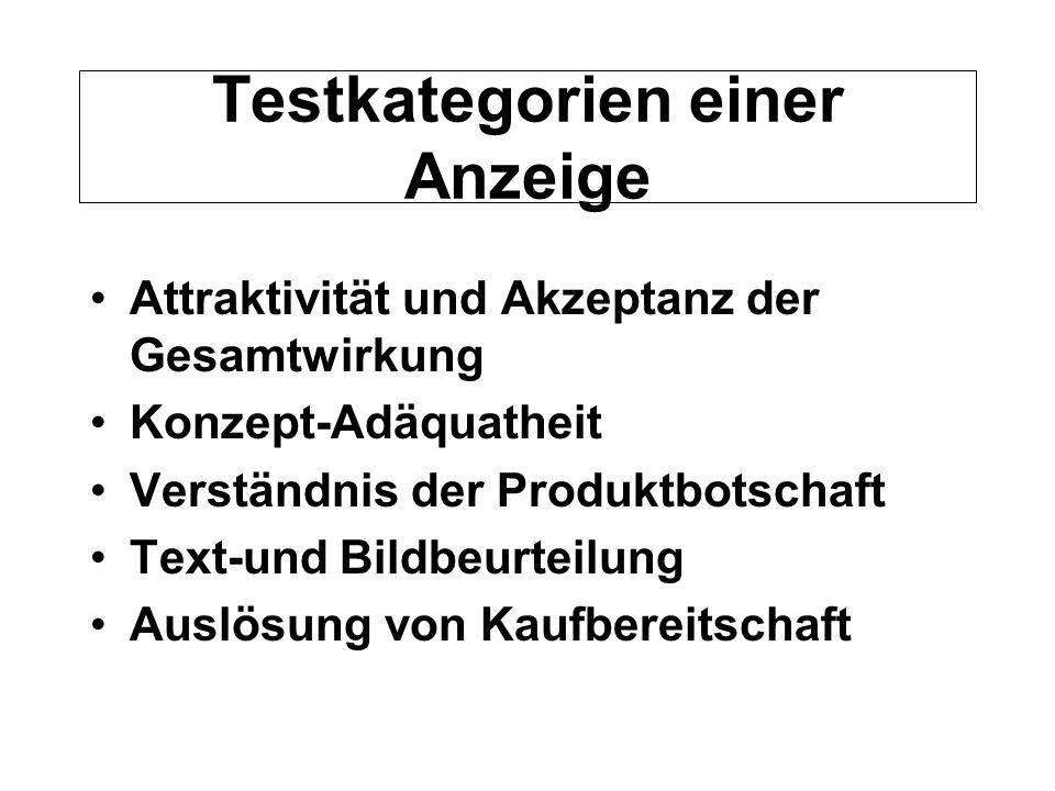 Testkategorien einer Anzeige Attraktivität und Akzeptanz der Gesamtwirkung Konzept-Adäquatheit Verständnis der Produktbotschaft Text-und Bildbeurteilu