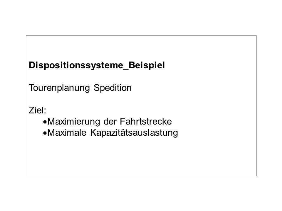 Dispositionssysteme_Beispiel Tourenplanung Spedition Ziel: Maximierung der Fahrtstrecke Maximale Kapazitätsauslastung