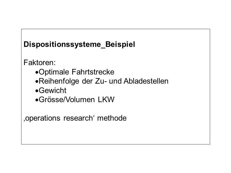 Dispositionssysteme_Beispiel Faktoren: Optimale Fahrtstrecke Reihenfolge der Zu- und Abladestellen Gewicht Grösse/Volumen LKW operations research methode