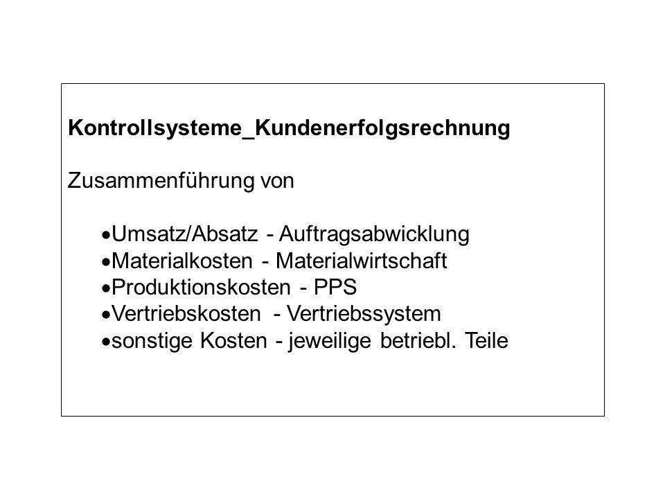 Kontrollsysteme_Kundenerfolgsrechnung Zusammenführung von Umsatz/Absatz - Auftragsabwicklung Materialkosten - Materialwirtschaft Produktionskosten - PPS Vertriebskosten - Vertriebssystem sonstige Kosten - jeweilige betriebl.