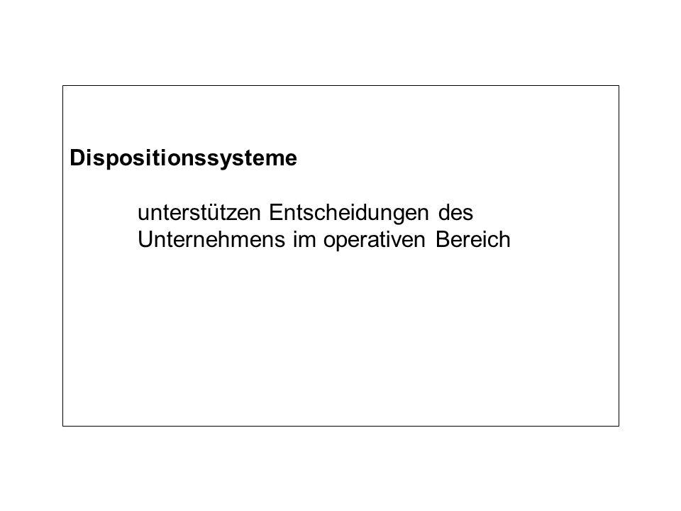 Dispositionssysteme unterstützen Entscheidungen des Unternehmens im operativen Bereich