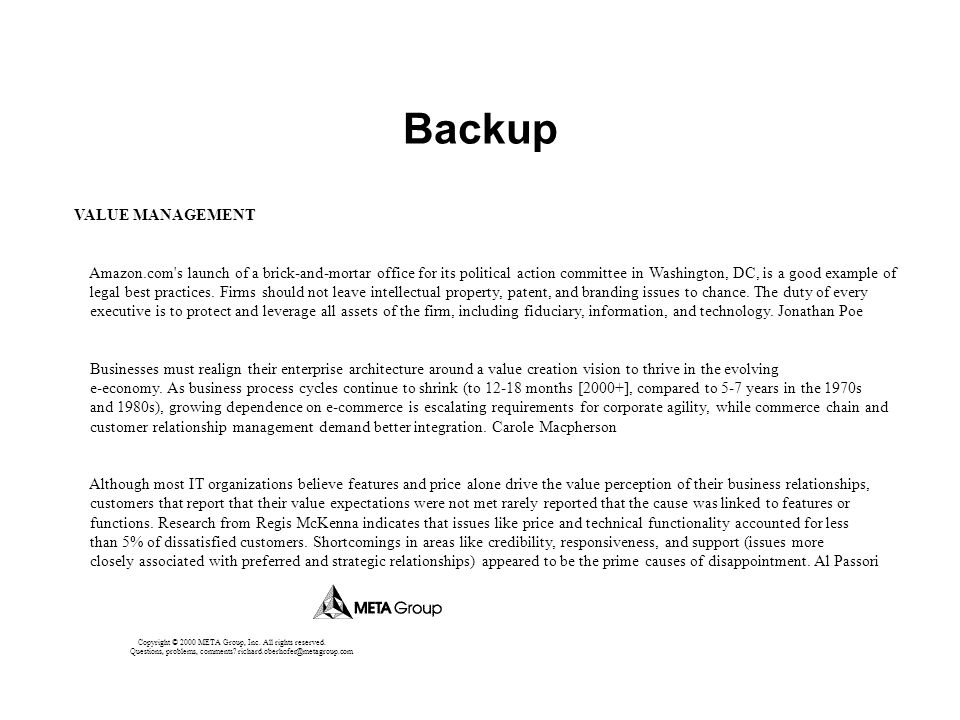 Backup VALUE MANAGEMENT Amazon.com's launch of a brick-and-mortar office for its political action committee in Washington, DC, is a good example of le