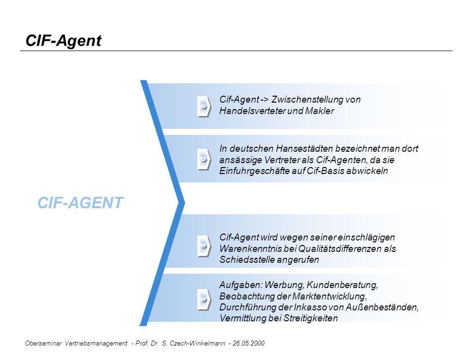 Oberseminar Vertriebsmanagement - Prof. Dr. S. Czech-Winkelmann - 26.05.2000 CIF-Agent CIF-AGENT Cif-Agent -> Zwischenstellung von Handelsverteter und