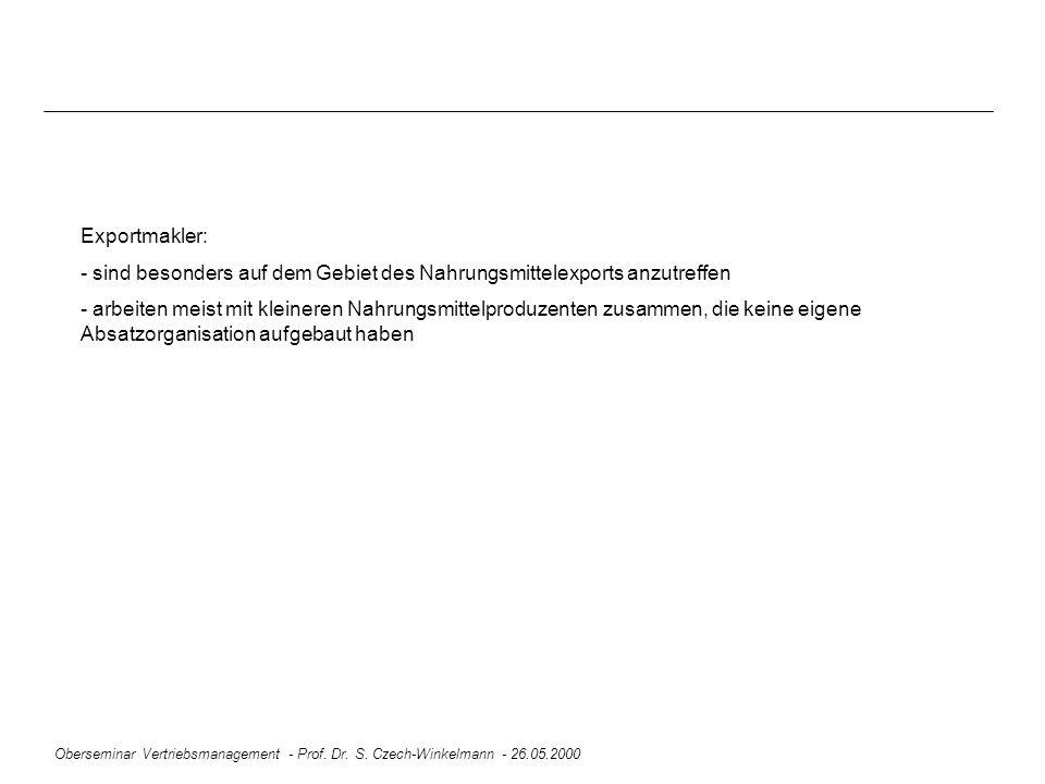 Oberseminar Vertriebsmanagement - Prof. Dr. S. Czech-Winkelmann - 26.05.2000 Exportmakler: - sind besonders auf dem Gebiet des Nahrungsmittelexports a