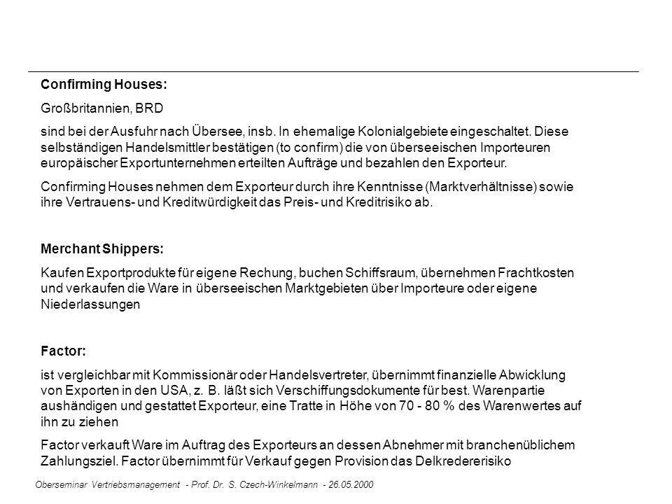 Oberseminar Vertriebsmanagement - Prof. Dr. S. Czech-Winkelmann - 26.05.2000 Confirming Houses: Großbritannien, BRD sind bei der Ausfuhr nach Übersee,