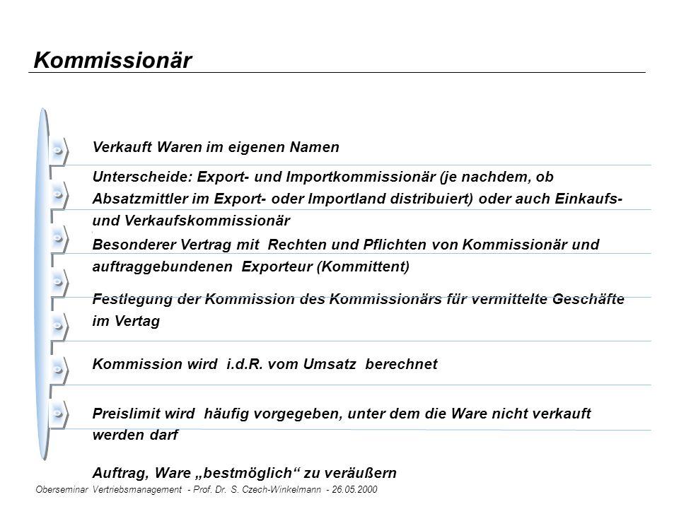 Oberseminar Vertriebsmanagement - Prof. Dr. S. Czech-Winkelmann - 26.05.2000 Kommissionär Verkauft Waren im eigenen Namen Unterscheide: Export- und Im