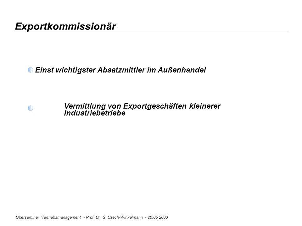 Oberseminar Vertriebsmanagement - Prof. Dr. S. Czech-Winkelmann - 26.05.2000 Exportkommissionär Einst wichtigster Absatzmittler im Außenhandel Vermitt