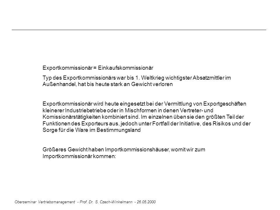 Oberseminar Vertriebsmanagement - Prof. Dr. S. Czech-Winkelmann - 26.05.2000 Exportkommissionär = Einkaufskommissionär Typ des Exportkommissionärs war