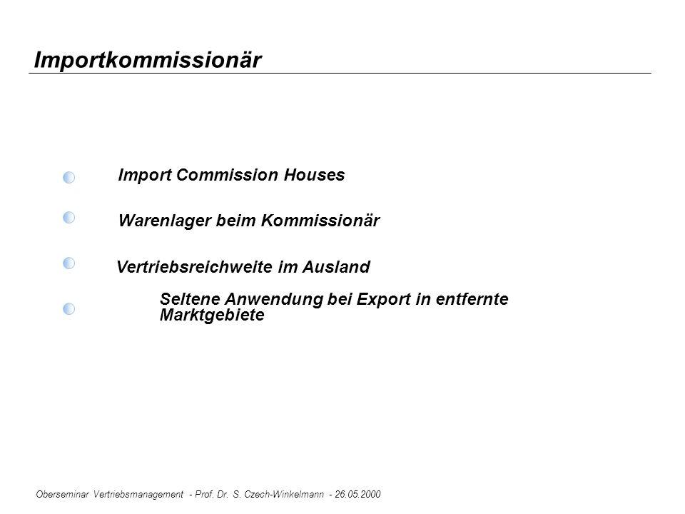Oberseminar Vertriebsmanagement - Prof. Dr. S. Czech-Winkelmann - 26.05.2000 Importkommissionär Import Commission Houses Warenlager beim Kommissionär