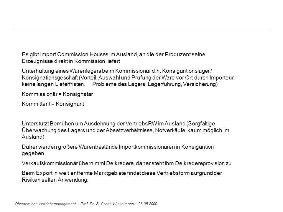 Oberseminar Vertriebsmanagement - Prof. Dr. S. Czech-Winkelmann - 26.05.2000 Es gibt Import Commission Houses im Ausland, an die der Produzent seine E