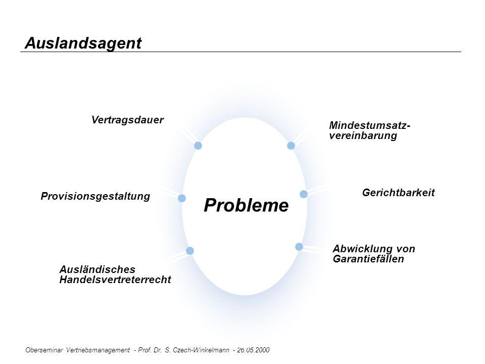Oberseminar Vertriebsmanagement - Prof. Dr. S. Czech-Winkelmann - 26.05.2000 Auslandsagent Ausländisches Handelsvertreterrecht Probleme Provisionsgest