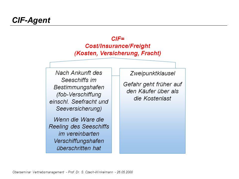 Oberseminar Vertriebsmanagement - Prof. Dr. S. Czech-Winkelmann - 26.05.2000 Nach Ankunft des Seeschiffs im Bestimmungshafen (fob-Verschiffung einschl