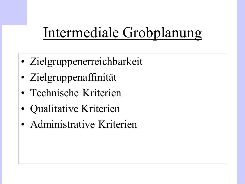 Intermediale Grobplanung Zielgruppenerreichbarkeit Zielgruppenaffinität Technische Kriterien Qualitative Kriterien Administrative Kriterien