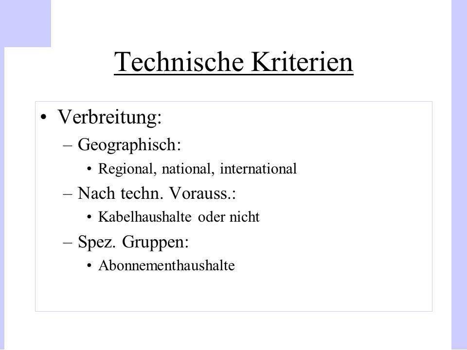 Technische Kriterien Verbreitung: –Geographisch: Regional, national, international –Nach techn. Vorauss.: Kabelhaushalte oder nicht –Spez. Gruppen: Ab