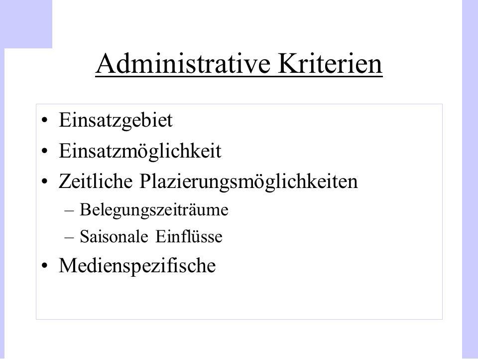 Administrative Kriterien Einsatzgebiet Einsatzmöglichkeit Zeitliche Plazierungsmöglichkeiten –Belegungszeiträume –Saisonale Einflüsse Medienspezifisch