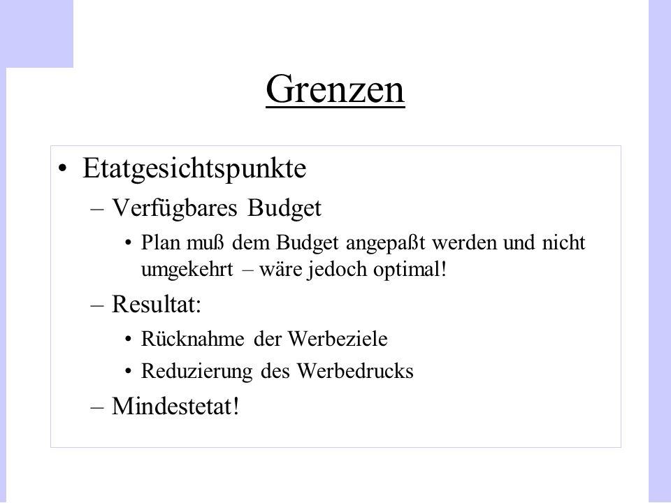 Grenzen Etatgesichtspunkte –Verfügbares Budget Plan muß dem Budget angepaßt werden und nicht umgekehrt – wäre jedoch optimal! –Resultat: Rücknahme der