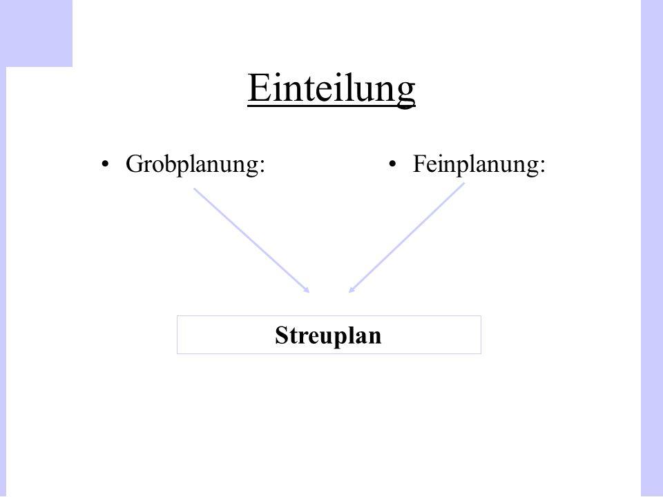 Einteilung Grobplanung:Feinplanung: Streuplan