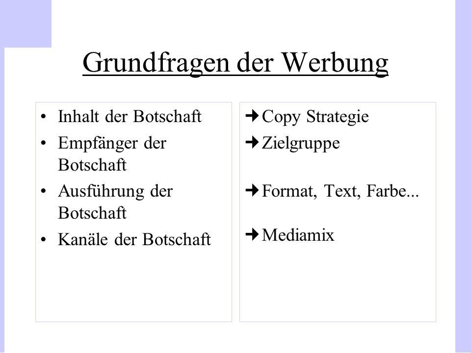 Grundfragen der Werbung Inhalt der Botschaft Empfänger der Botschaft Ausführung der Botschaft Kanäle der Botschaft Copy Strategie Zielgruppe Format, T