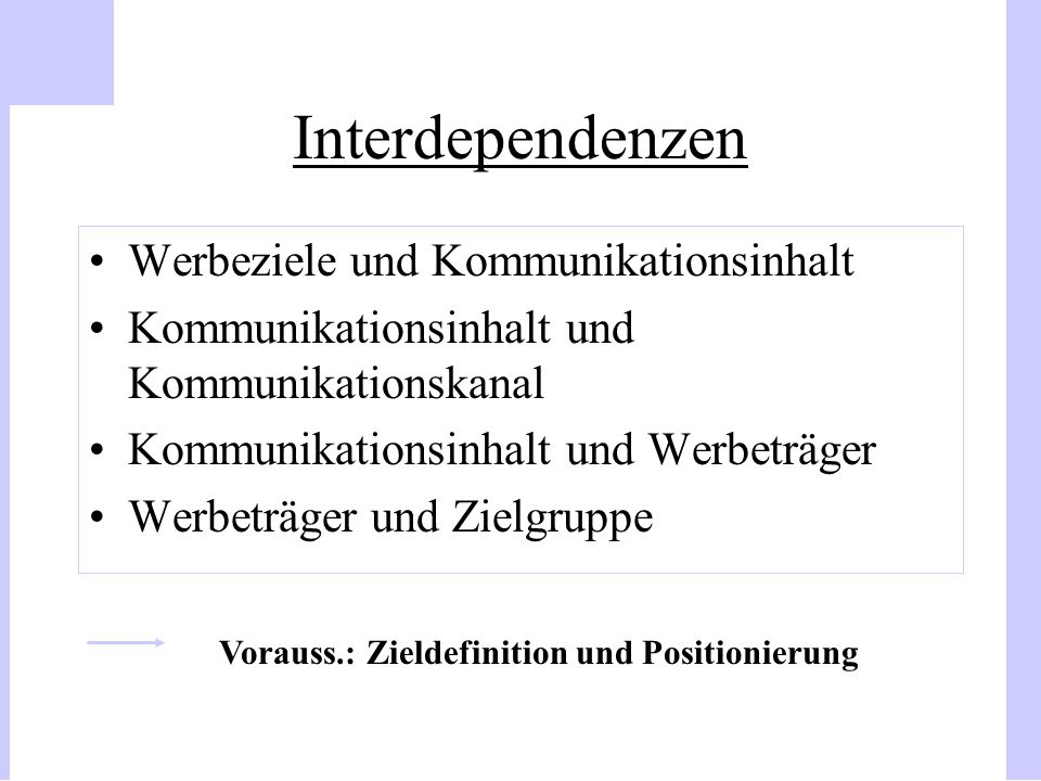 Interdependenzen Werbeziele und Kommunikationsinhalt Kommunikationsinhalt und Kommunikationskanal Kommunikationsinhalt und Werbeträger Werbeträger und