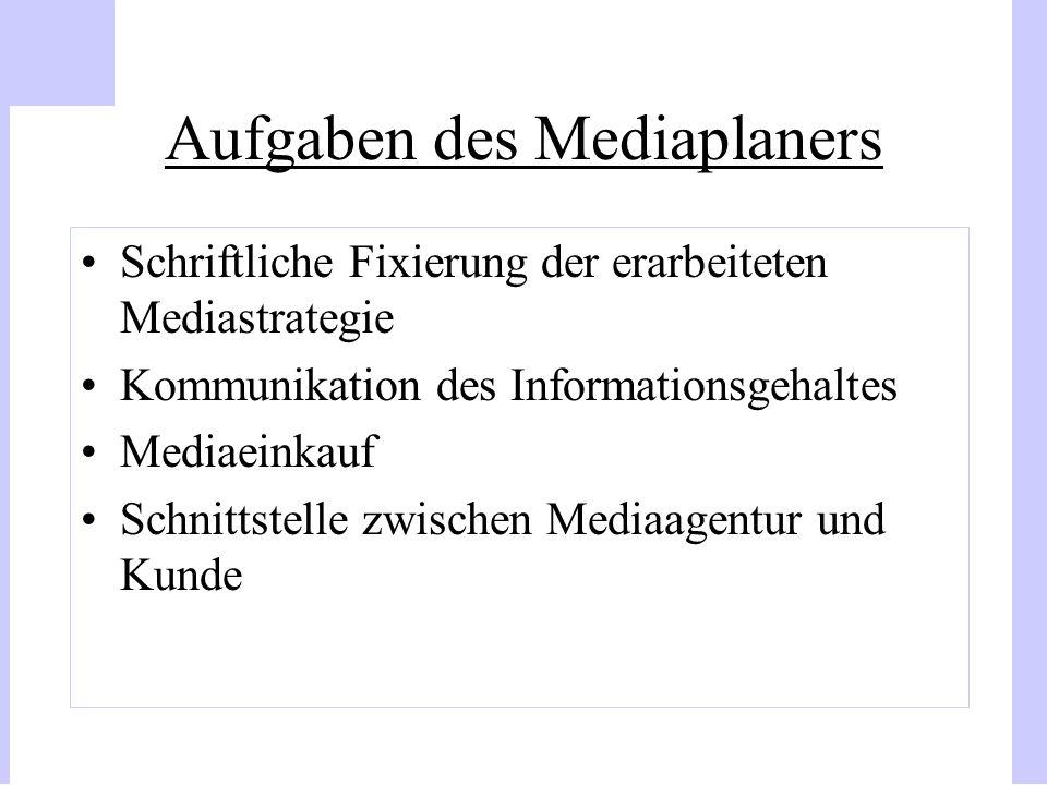Aufgaben des Mediaplaners Schriftliche Fixierung der erarbeiteten Mediastrategie Kommunikation des Informationsgehaltes Mediaeinkauf Schnittstelle zwi