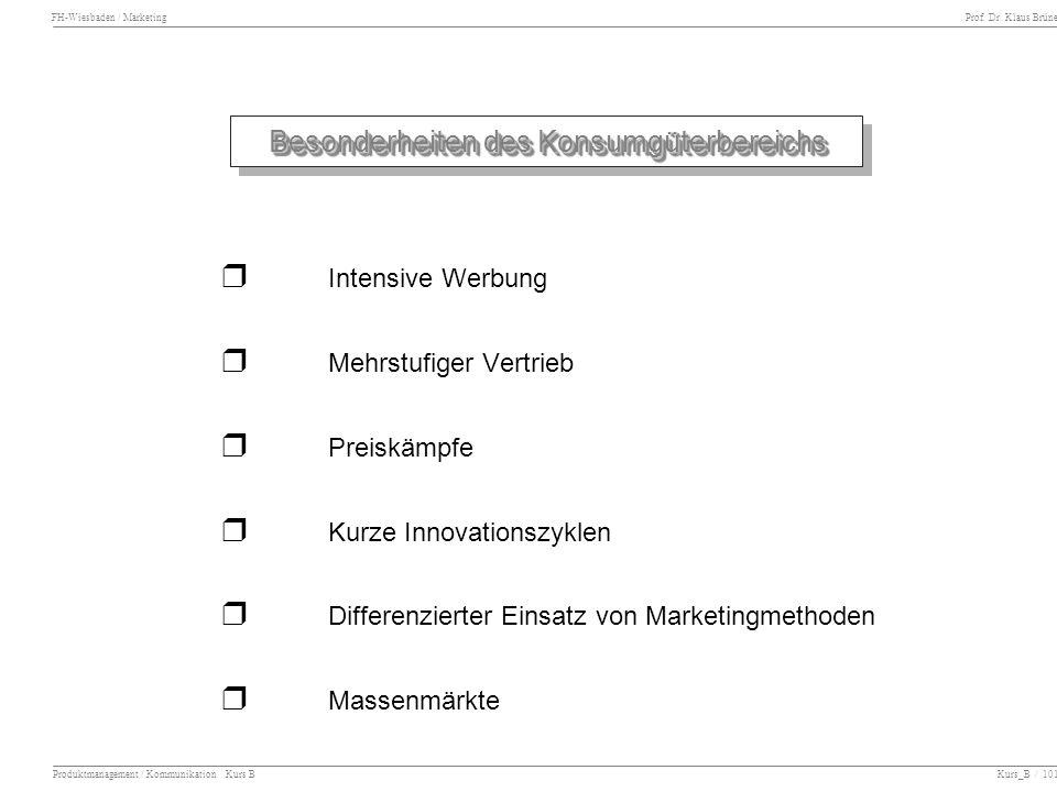 FH-Wiesbaden / Marketing Prof. Dr. Klaus Brüne Produktmanagement / Kommunikation Kurs B Kurs_B / 101 Besonderheiten des Konsumgüterbereichs Intensive