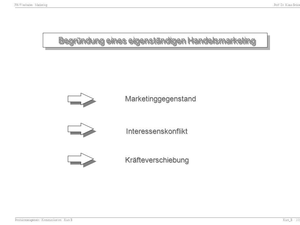 FH-Wiesbaden / Marketing Prof. Dr. Klaus Brüne Produktmanagement / Kommunikation Kurs B Kurs_B / 105 Begründung eines eigenständigen Handelsmarketing